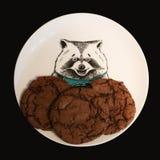 Cookies na placa engraçada com guaxinim fotografia de stock royalty free