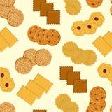 Cookies Naadloos vectorpatroon met verschillende koekjes royalty-vrije stock afbeelding