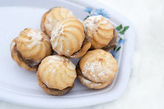 Cookies no pó do açúcar Foto de Stock Royalty Free