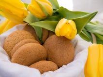 Cookies no saco de linho Fotografia de Stock