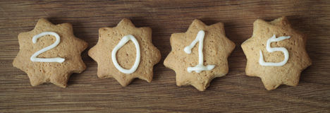 Cookies. 2015 number on gingerbread cookie - christmas composition Stock Photos