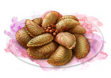 Cookies with nuts,azerbaijan holiday meal, sketch. Cookies with nuts, azerbaijan holiday meal - shekerbura, sketch Royalty Free Stock Photos