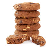 Cookies with nuts and chocolate Stock Photos