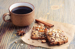 Cookies with nuts and coffee Stock Photos
