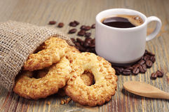 Cookies with nuts and coffee Royalty Free Stock Image