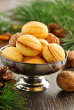 Cookies nuts with condensed milk Royalty Free Stock Images