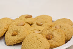 Cookies with nuts on a plate Stock Image
