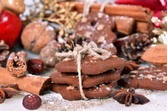 Cookies with nuts and spices Royalty Free Stock Images