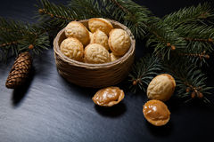 Cookies Nuts with sweet filling Royalty Free Stock Photos