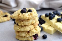 Oatmeal Cookies with Blueberries and White Chocolate stock image