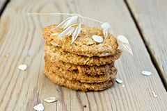 Cookies oatmeal on board Stock Photos