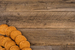 Cookies on old wooden. Royalty Free Stock Photos