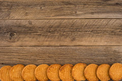 Cookies on old wooden. Royalty Free Stock Image