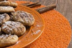 Cookies on orange plate. Homemade cookies on orange plate Stock Image