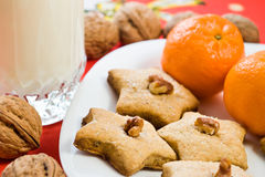 Cookies and oranges for Christmas Stock Photo