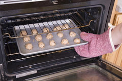 Cookies in oven Stock Photography