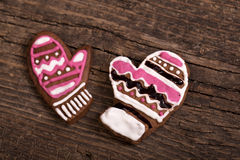 Cookies over wooden background. Traditional gingerbread cookies over wooden background stock image