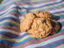 Cookies passa e porcas de macadâmia no fundo da natureza e na textura da tela da listra imagem de stock