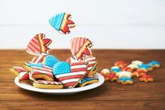 Cookies patrióticas para 4o julho Fotografia de Stock
