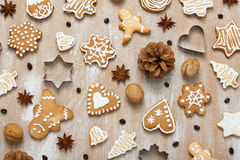 Cookies pattern with walnuts, coffee beans, anise and cookie cut. Cookies pattern with walnuts, coffee beans, cone, anise stars and cookie cutter Stock Image