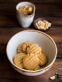 Cookies with peanut butter, nuts in a bowl Stock Photography