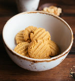 Cookies with peanut butter, nuts in a bowl Royalty Free Stock Image