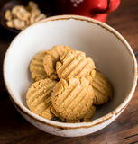 Cookies with peanut butter, nuts in a bowl Royalty Free Stock Images