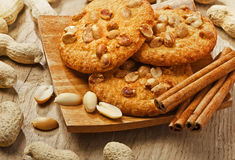 Cookies with peanuts and cinnamon Royalty Free Stock Image