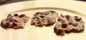 Cookies with peanuts. Deliciouse Cookies with peanuts in golden plate Stock Photography