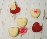 Cookies pequenas, Valentim Fotografia de Stock