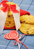 Cookies with pieces of chocolate for Valentine's day Royalty Free Stock Photography