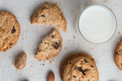 Cookies pile with chocolate chip and almond on light textile Stock Images