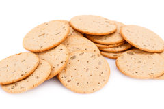 Cookies. Pile of round cookies isolated on white background Stock Photo