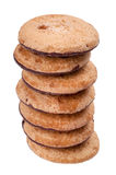 Cookies pile on white background. Isolated Royalty Free Stock Images