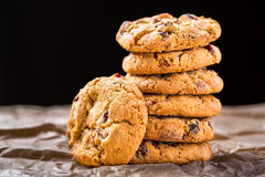Cookies. A pile of white chocolate and cramberry cookies Royalty Free Stock Image