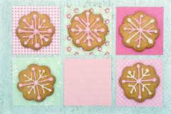 Cookies with pink frosting Royalty Free Stock Image
