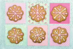 Cookies with pink frosting Stock Images