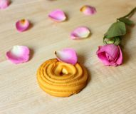 Cookies and pink rose royalty free stock images