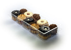 Cookies in plastic box. Shortbread packed in plastic box Royalty Free Stock Image