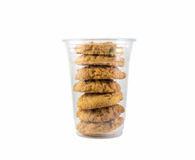 Cookies in a plastic cup. Cookies in the plastic cup stock photos