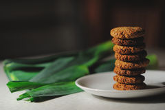 Cookies on the plate and green leafs. Sweet cookies on the plate and green leafs Royalty Free Stock Photos