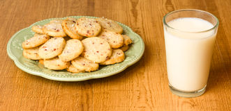 Cookies on plate with milk Stock Photos