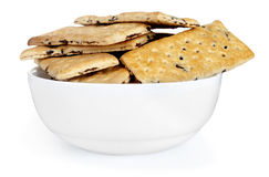 Cookies on plate. On white stock images