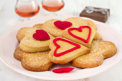 Cookies on the plate with wine Royalty Free Stock Photography