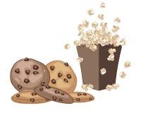 Cookies and popcorn Stock Photo