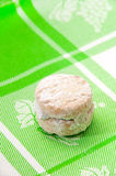 Cookies with powder sugar on a green rag Royalty Free Stock Photos