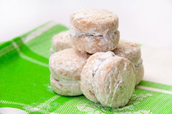 Cookies with powder sugar on a green rag Stock Photography