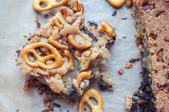 Cookies with pretzels and chocolate Royalty Free Stock Photo