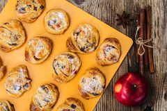 Cookies of puff pastry with apple jam and raisins Royalty Free Stock Photos