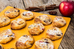 Cookies of puff pastry with apple jam and raisins Stock Images